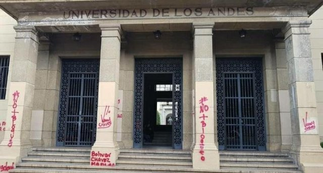 Delincuentes del régimen de Maduro grafitearon el rectorado de la Universidad de Los Andes